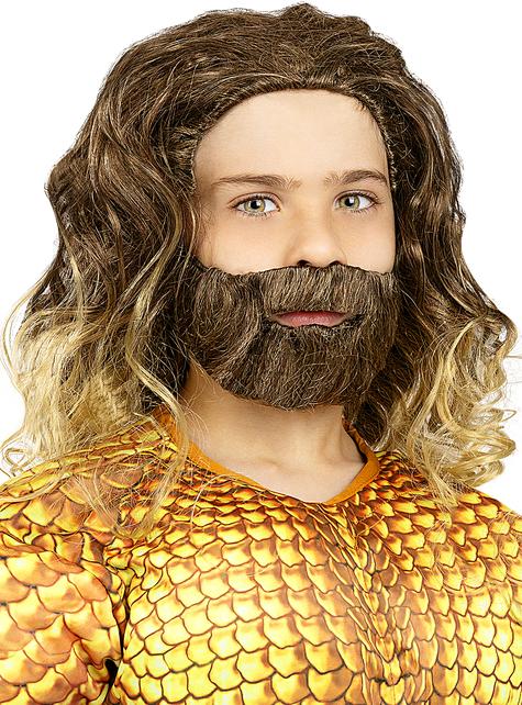 Peluca de Aquaman con barba para niño