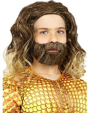 Aquaman-pruik met baard voor jongens