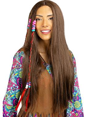 Hippie Perücke braun