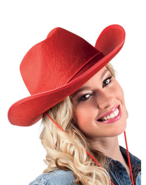 Pălărie de cowboy de rodeo roșie pentru adult
