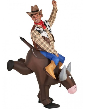 Disfraz de vaquero con toro hinchable para adulto