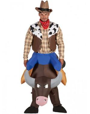 Costum de cowboy cu taur gonflabil pentru adulți