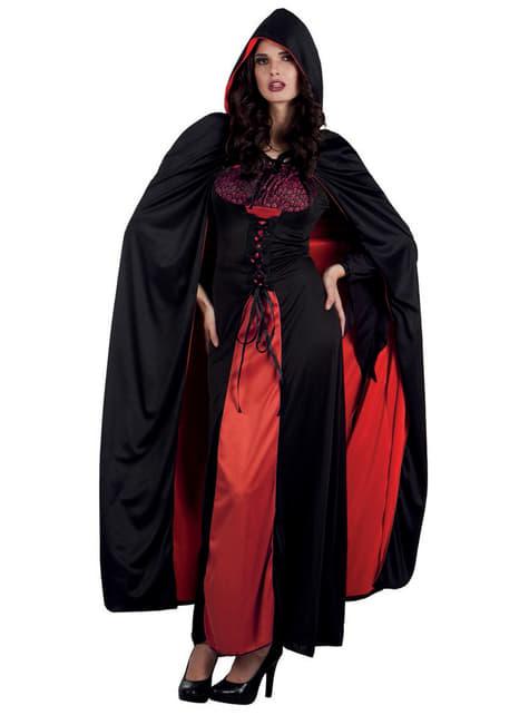 Capa de Conde drácula reversible con capucha para adulto - para tu disfraz
