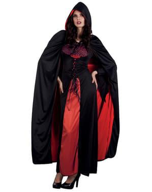 Grev Dracula vendbar kappe med hætte til voksne