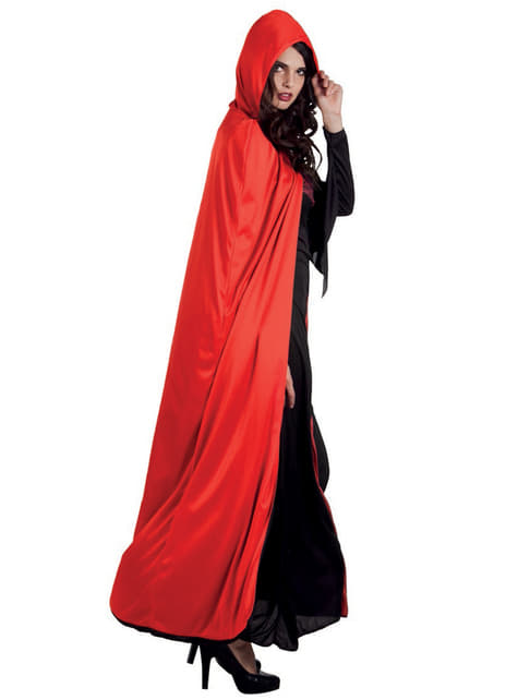 Capa de Conde Drácula reversível com capuz para adulto