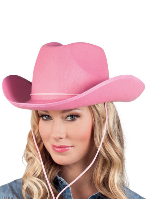 Sombrero de vaquero de rodeo rosa para adulto