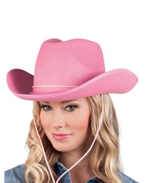 Pălărie de cowboy de rodeo roz pentru adult