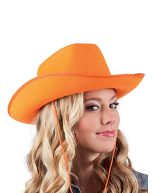 Chapeau cowboy rodéo orange adulte
