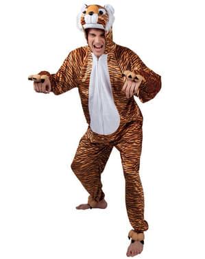 Fato de tigre de peluche para adulto