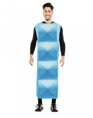 Fato de Tetris azul claro para adulto