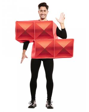 Fato de Tetris vermelho para adulto
