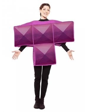 Kostým fialová tetrisová kostka pro dospělé