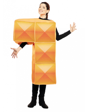 Kostým oranžová tetrisová kostka pro dospělé