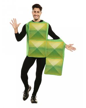 Disfraz de Tetris verde para adulto