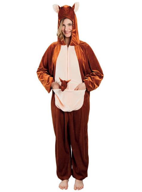 Disfraz de canguro de peluche para adulto