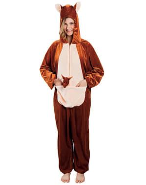 Pluche kangoeroe kostuum voor volwassenen