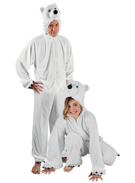 Fato de urso polar de peluche para adulto