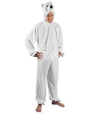 Costum de urs polar de pluș pentru adult