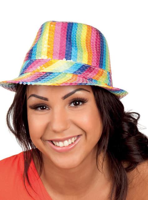 Sombrero arco iris de lentejuelas para adulto