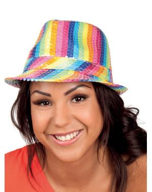 Pălărie curcubeu de paiete pentru adult