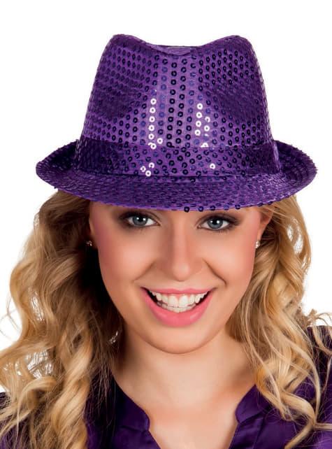 Sombrero azul de lentejuelas para adulto