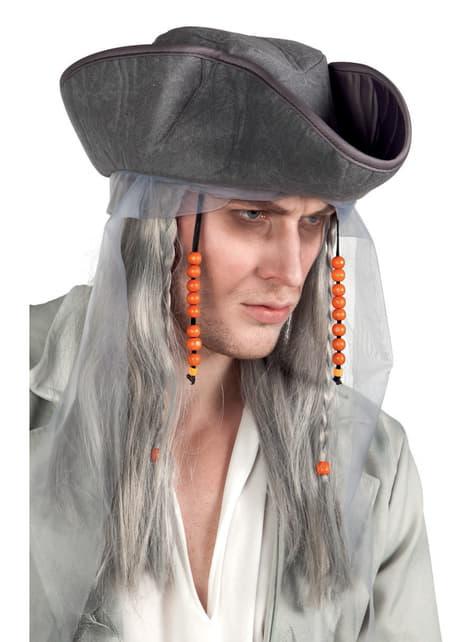 Peluca de fantasma pirata con sombrero para adulto