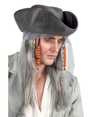Ghost Pirate Wig with Hat for Adults
