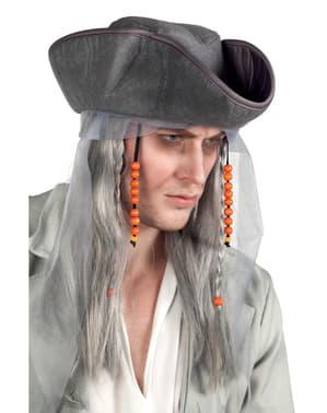 Peruca de Pirata fantasma com chapéu para adulto