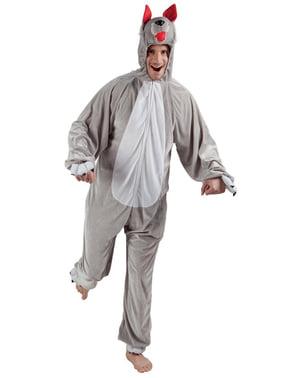 Disfraz de lobo de peluche para adulto