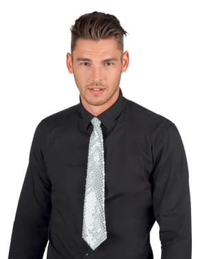 Gravata branca com lantejoulas para adulto