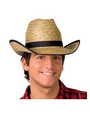 Chapéu de vaqueiro de palha para adulto