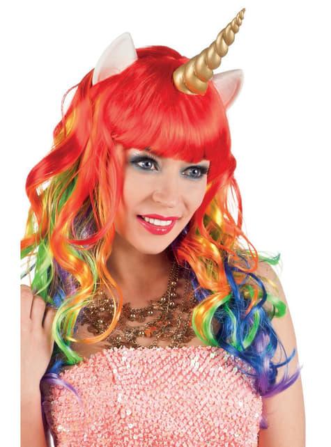 Peruca de unicórnio multicolor para mulher