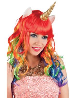 Многоцветна женска перука с еднорог