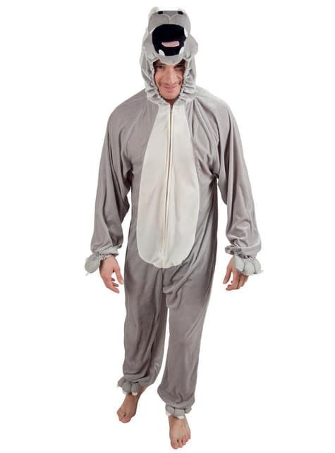 Fato de hipopótamo de peluche para adulto