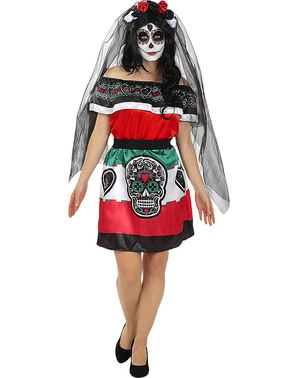 Catrina meksikansk kostyme til dame