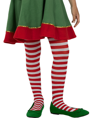 Red and White Striped Elf Tights for Girls