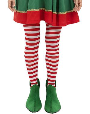 Colanți de elf cu dungi roșii și albe pentru femei