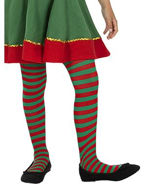 Medias de elfo de rayas verdes y rojas para niña