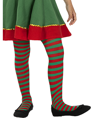 Rød og grønn stripet alvetights for jenter
