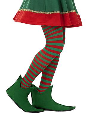 Rød og grønn stripet alvetights for kvinner