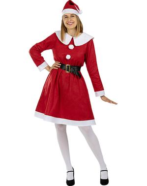 Mrs Claus kostyme til dame plusstørrelse