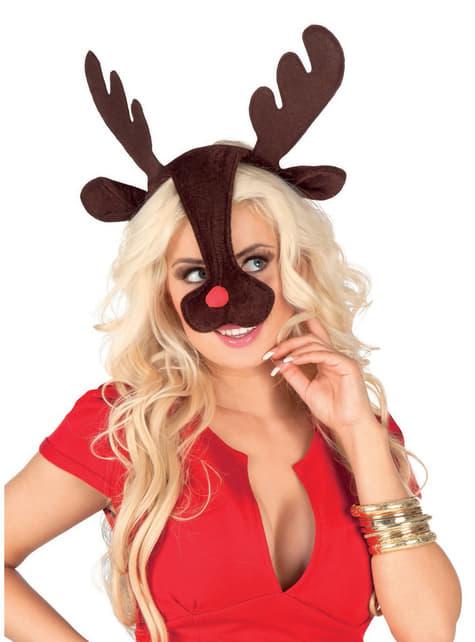 Cornos e nariz de Rudolph, a Rena do Nariz Vermelho para mulher