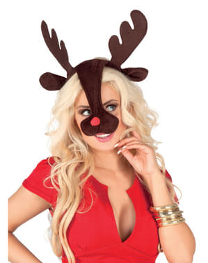 Cuernos y nariz de reno Rudolph para mujer