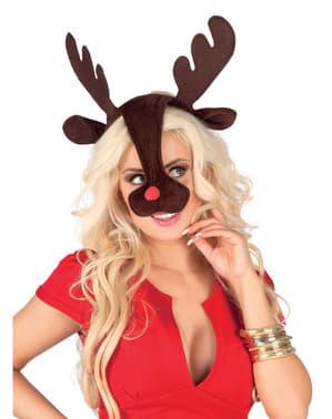 Hoorns en neus van rendier Rudolph voor vrouw