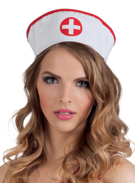 Gorro de enfermera blanco y rojo para mujer