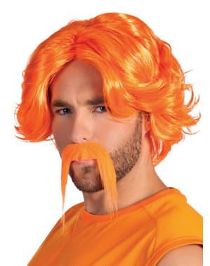 Oranje pruik en snor voor mannen