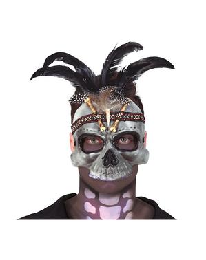 Máscara Vúdu con plumas