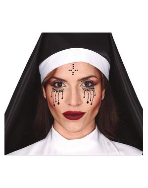 Joias faciais autocolantes de freira