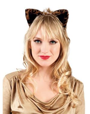 Очарователни леопардови уши на жената