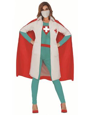 Superheld dokterskostuum voor vrouwen